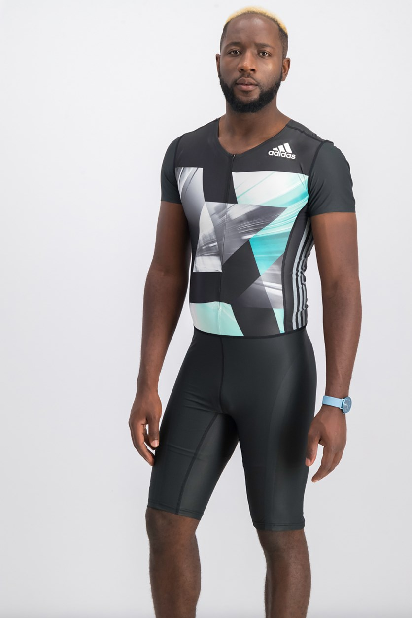 Men Track and Field Suit, Charcoal/White/Teal Combo