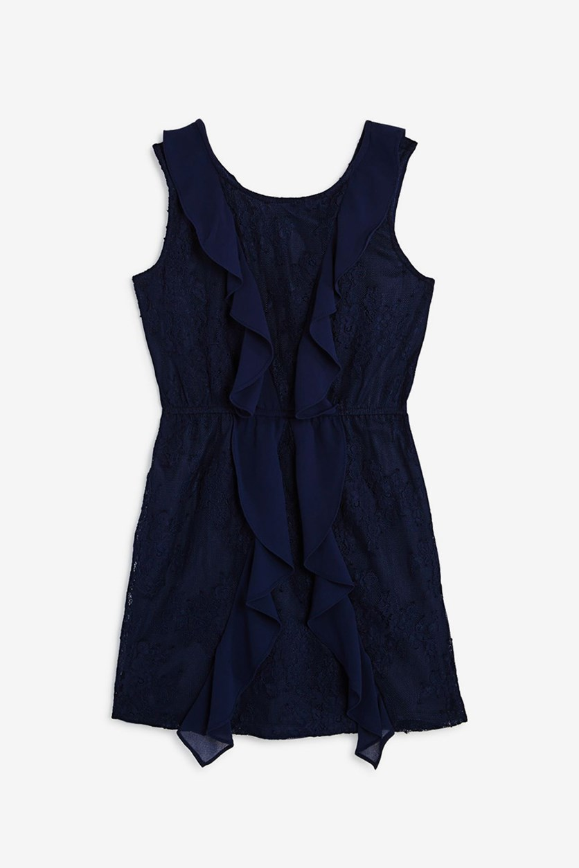 Girls' Hallie Ruffled Lace Dress, Navy