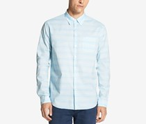 Dkny Men's Space-Dyed Cotton Striped Shirt, Blue Danube