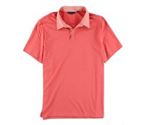 Perry Ellis Men's Mixed Media Rugby Polo Shirt, Coral