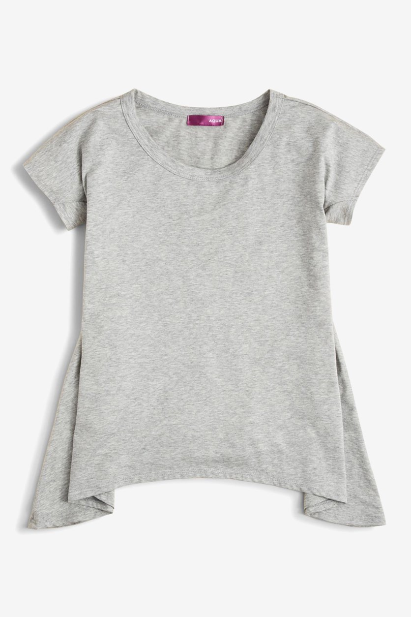 Girls  Solid Knit Sharkbite Tees, Heather Grey