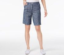 Karen Scott Curved-Pocket Shorts, Blue