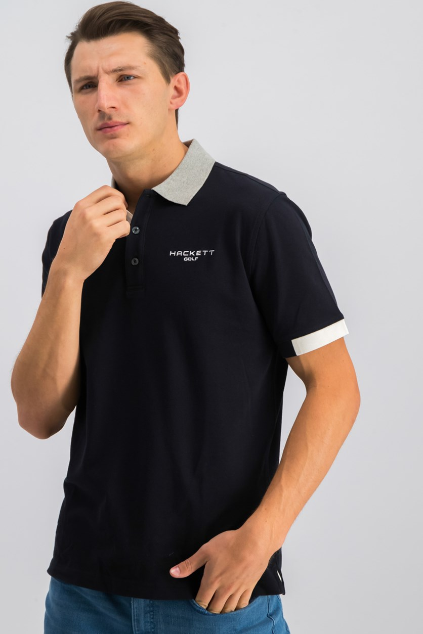 Golf Mens Langley Polo Shirt, Black/Metal