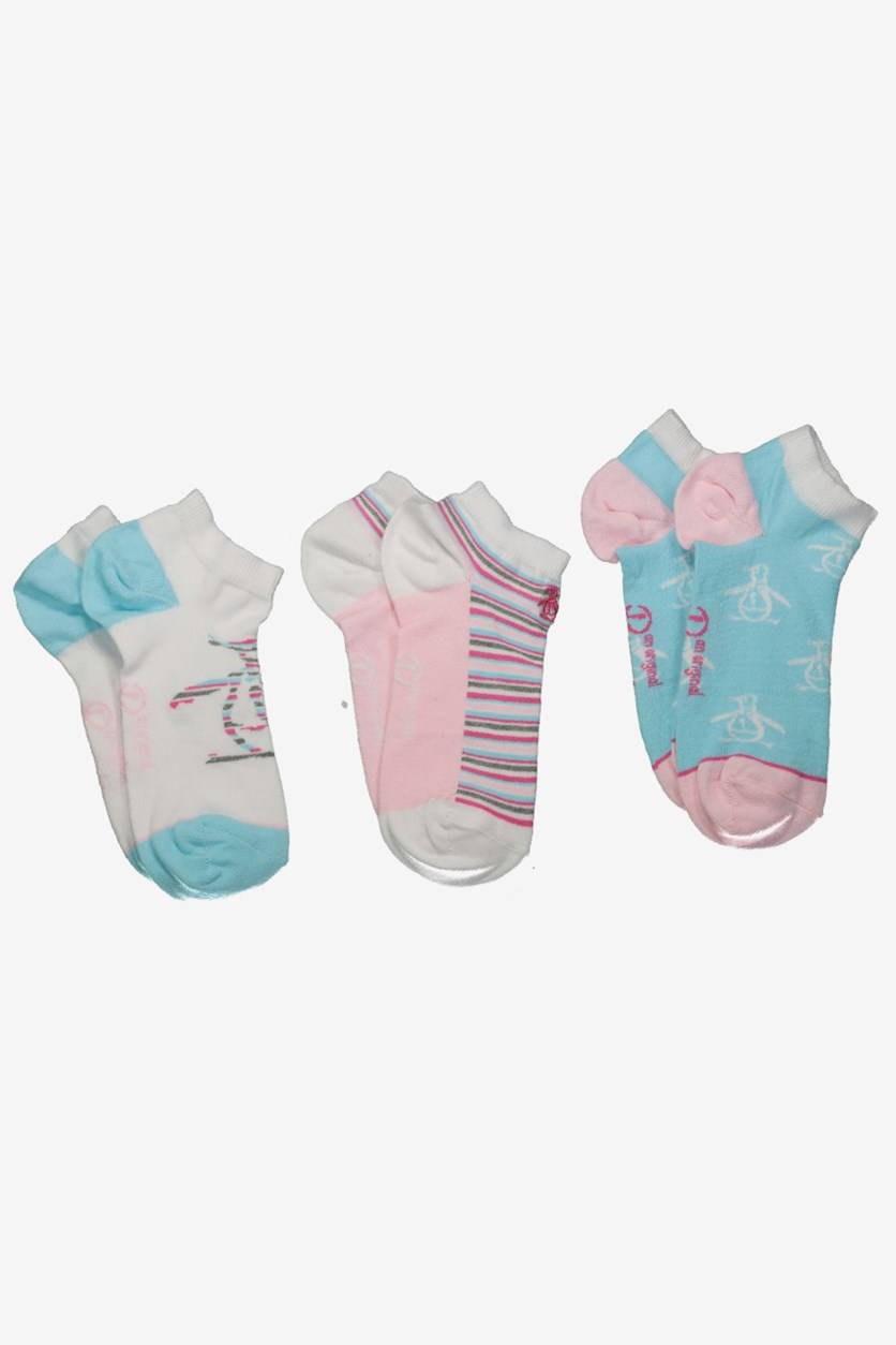 Women's 3-Pack Trainer Socks, White/Blue/Pink