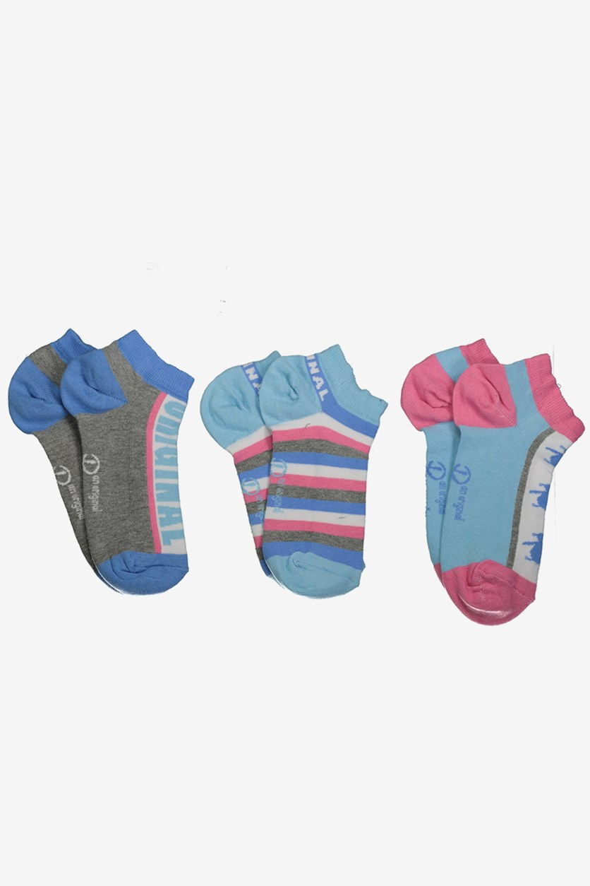 Women's 3-Pack Trainer Socks, Blue/Grey Combo
