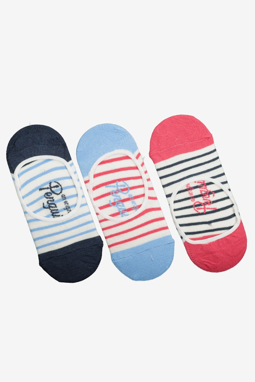 Women's 3-Pack Footsies Socks, Red/Navy/White