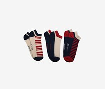 Original Penguin Men's 3-Pack Trainer Liner, Navy/Red/Cream