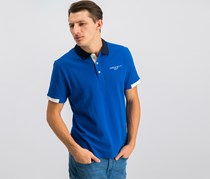Hackett Golf Mens Langley Polo Shirt, Snorkel/Atlantic