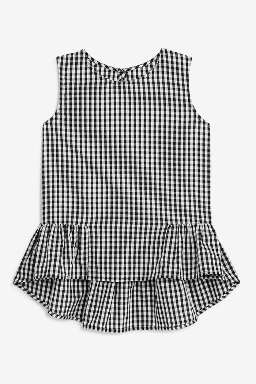 Girl's Gingham Top, Black/White