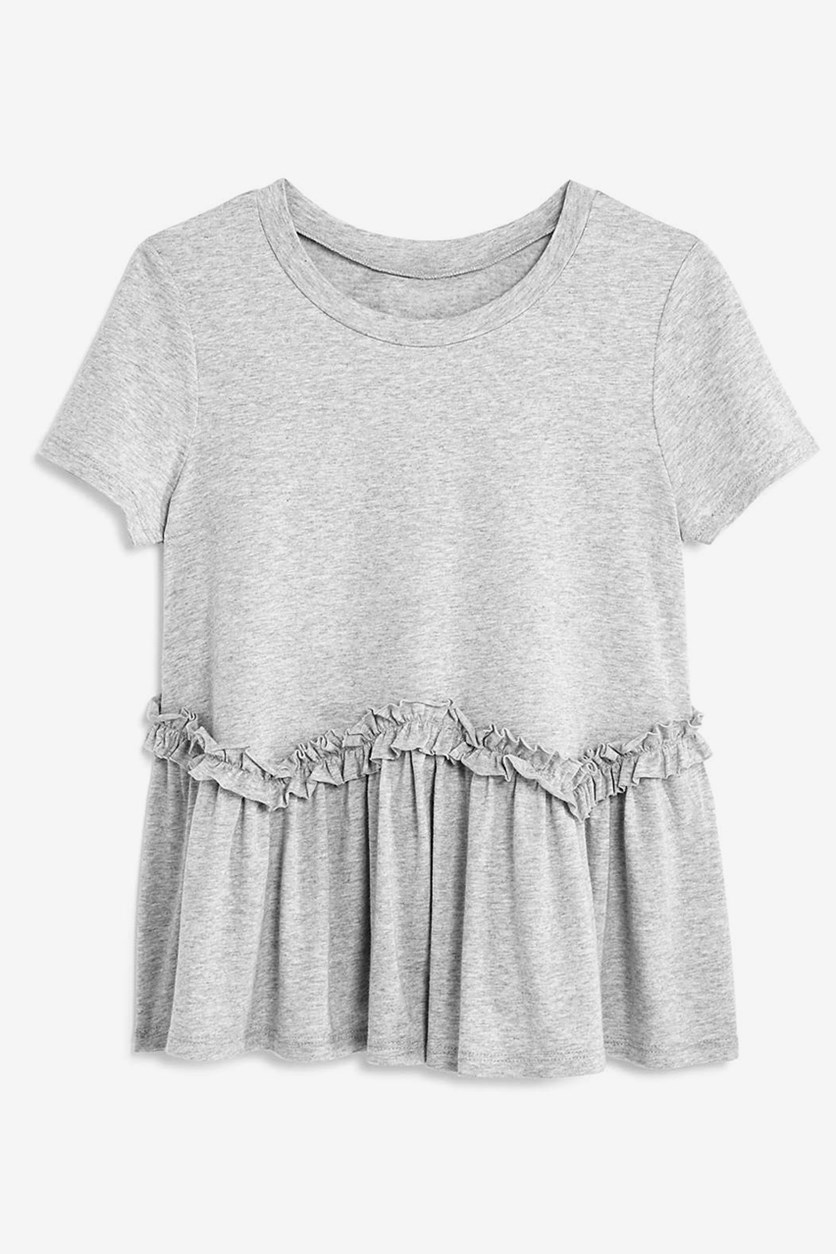Girls' Ruffled Tee, Grey Heather