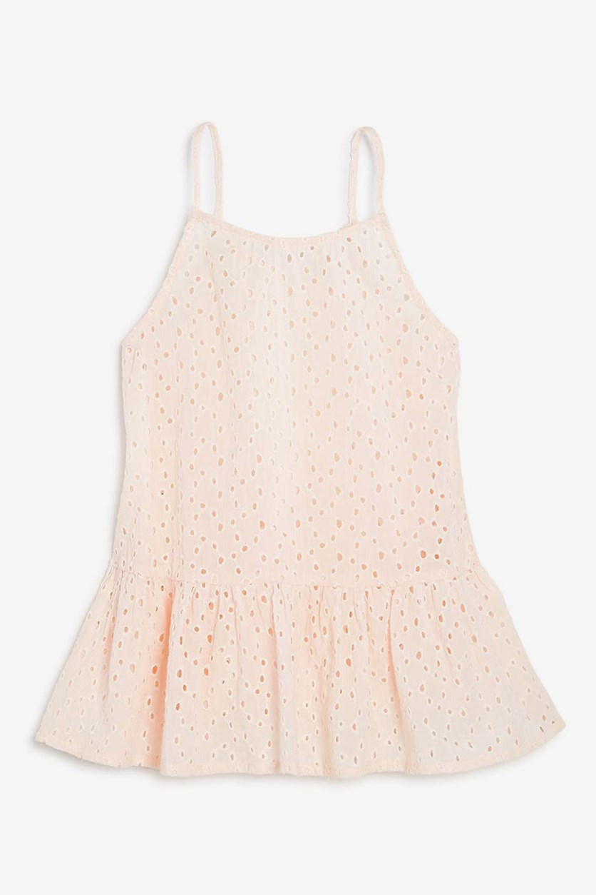 Girls' Eyelet Peplum Tank, Blush