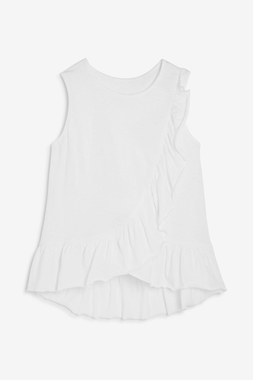 Girls Ruffled Tank, White