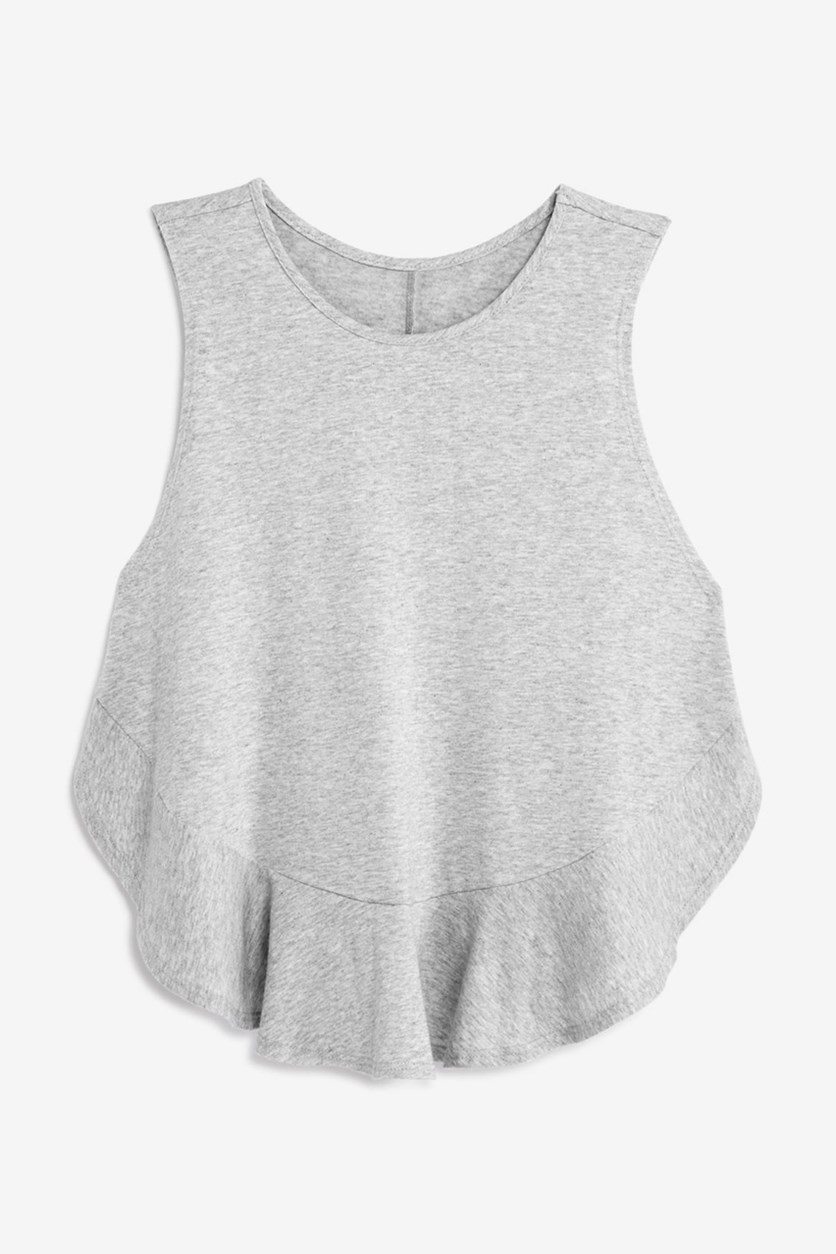 Girls' Ruffle-Hem Tank, Grey