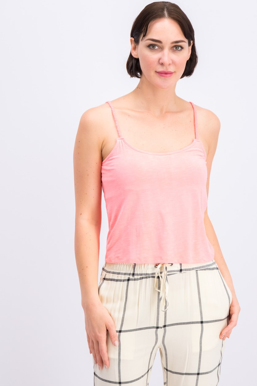 Women's Braided Strap Top, Neon Pink