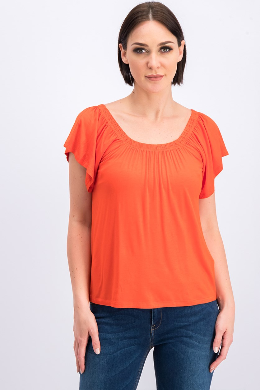Women's Scoop Neck Top, Red Orange