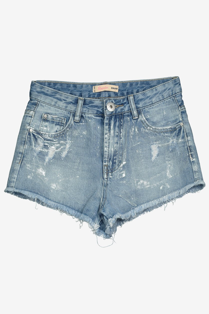 Women's Metallic Denim Short, Wash Blue