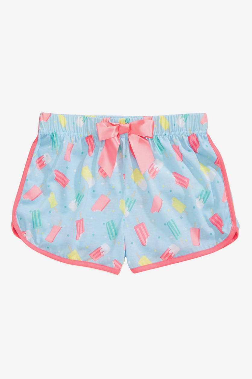 Girl's Printed Pajama Shorts, Blue Combo
