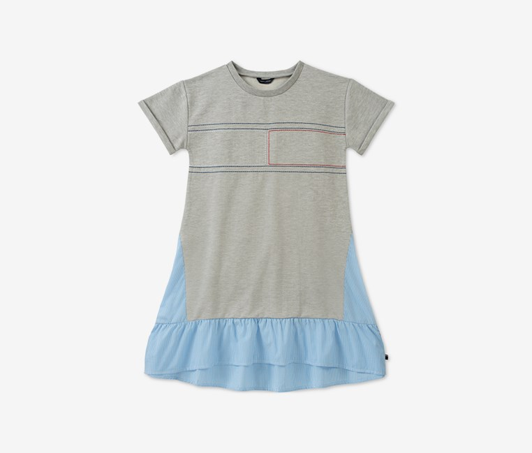 Kids Mixed Media Dress, Gray