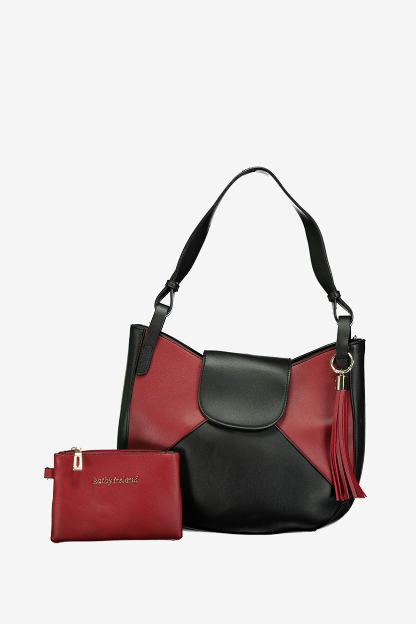Women's Colorblock Hobo Bag, Black/Red
