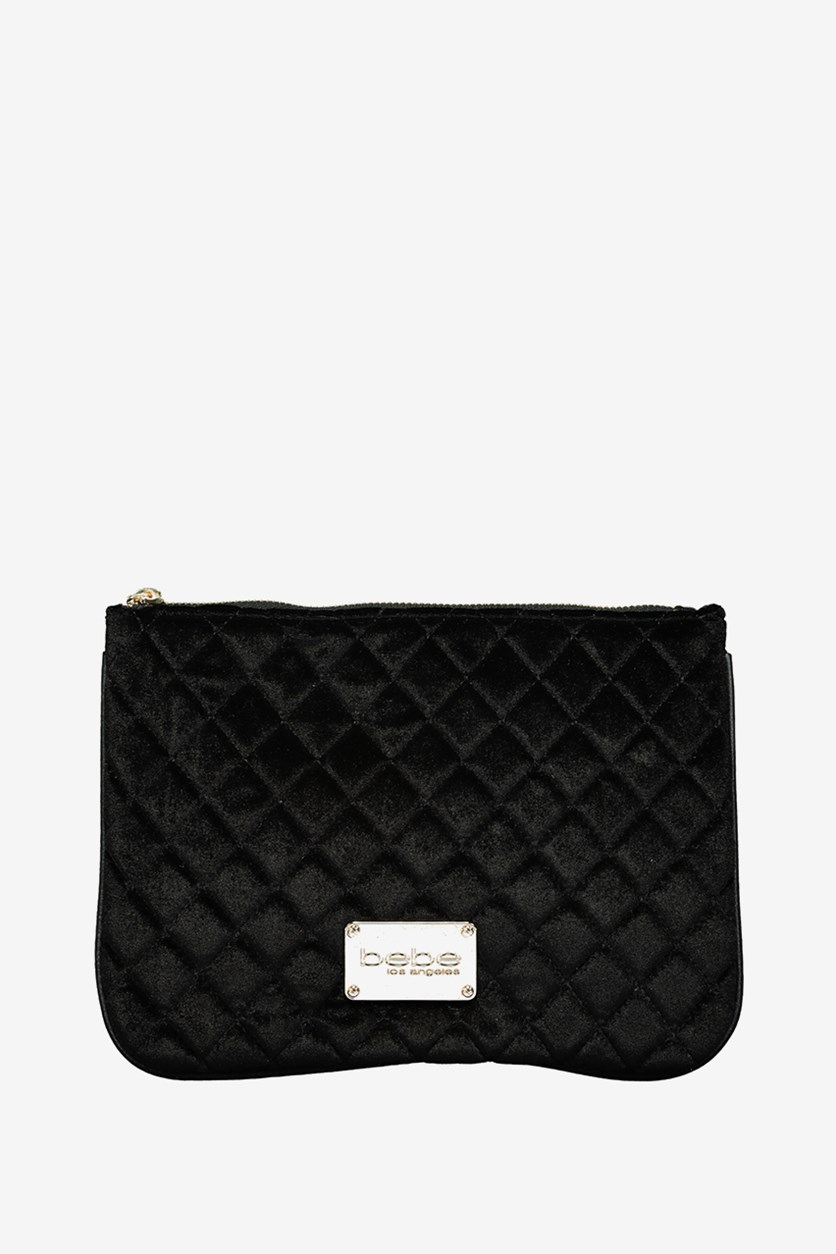 Women Danielle Quilted Wristlet, Black