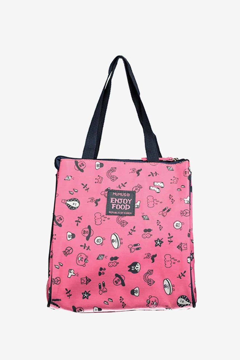 Waterproof Printed Lunch Bag, Rosy/Pink
