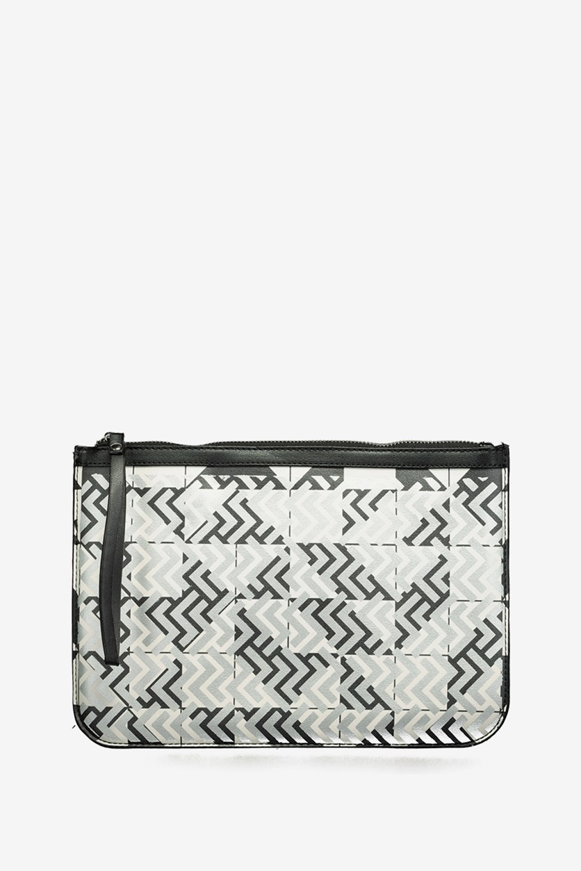 Geometric Pattern Clutch Bag, Black Combo