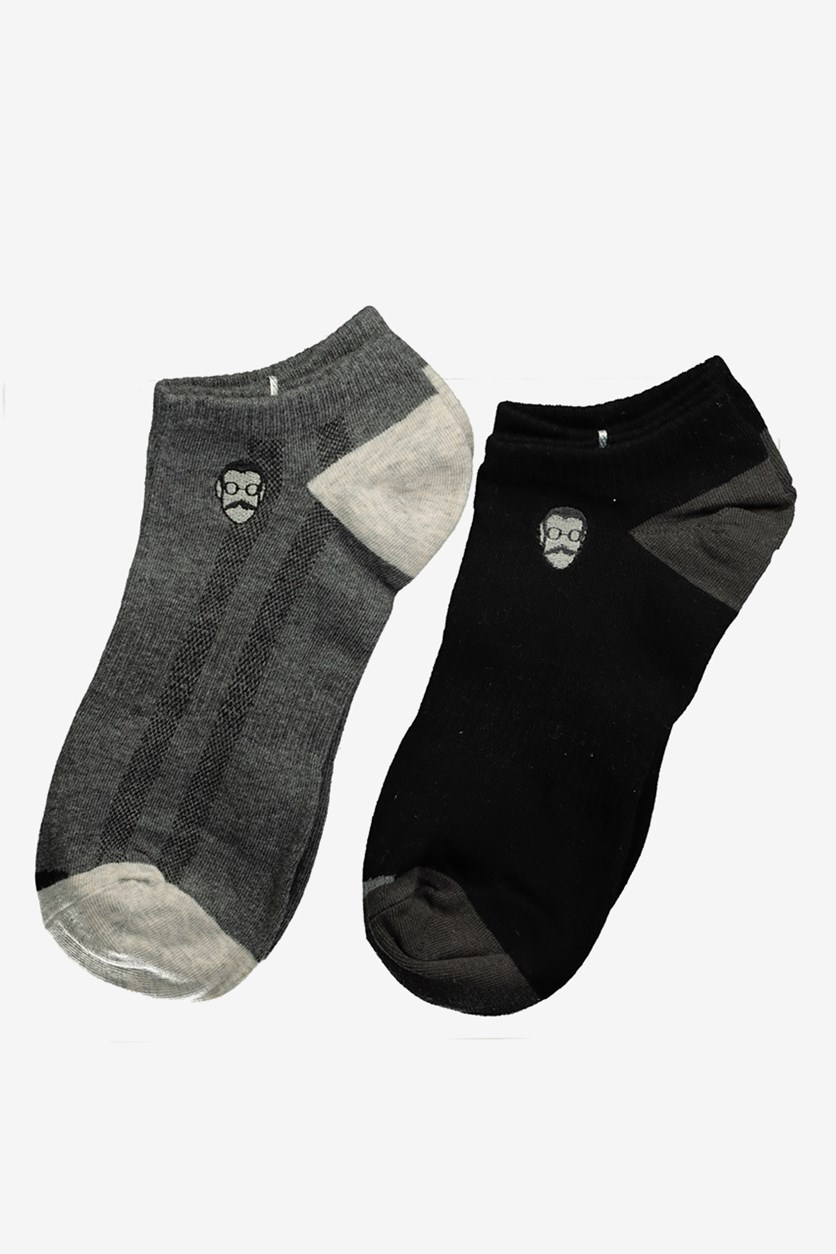 2 Pack Men's Embroidered Face Low-cut Socks, Gray/Black