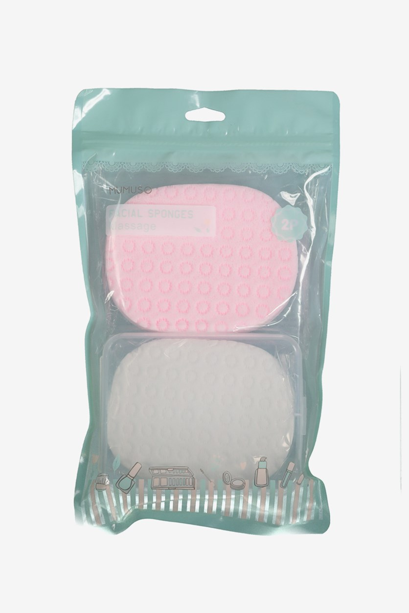 Facial Massage Cleansing Sponges, Pink/White