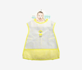 Baby's Waterproof Sleeveless Smock, White/Yellow