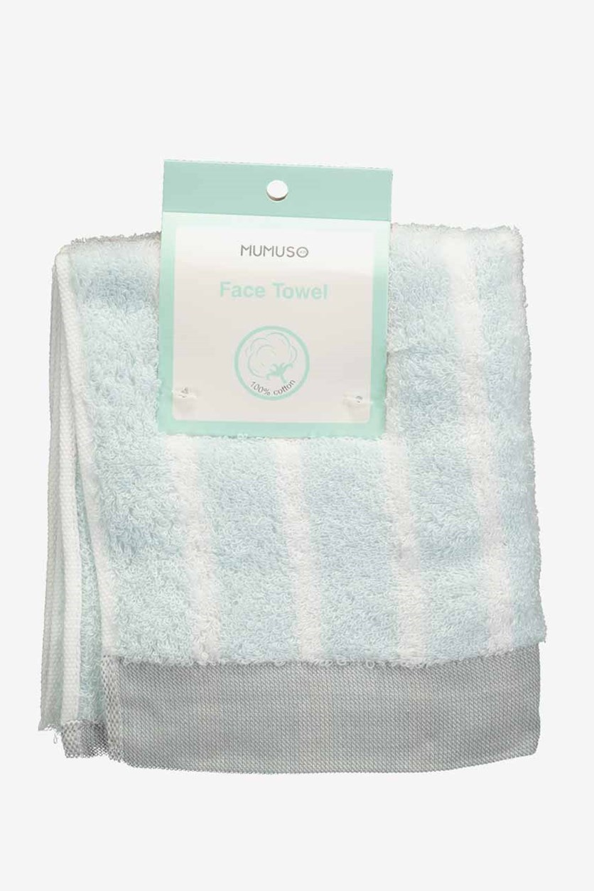 Superthin Colorful Face Towel, Grey/white/blue