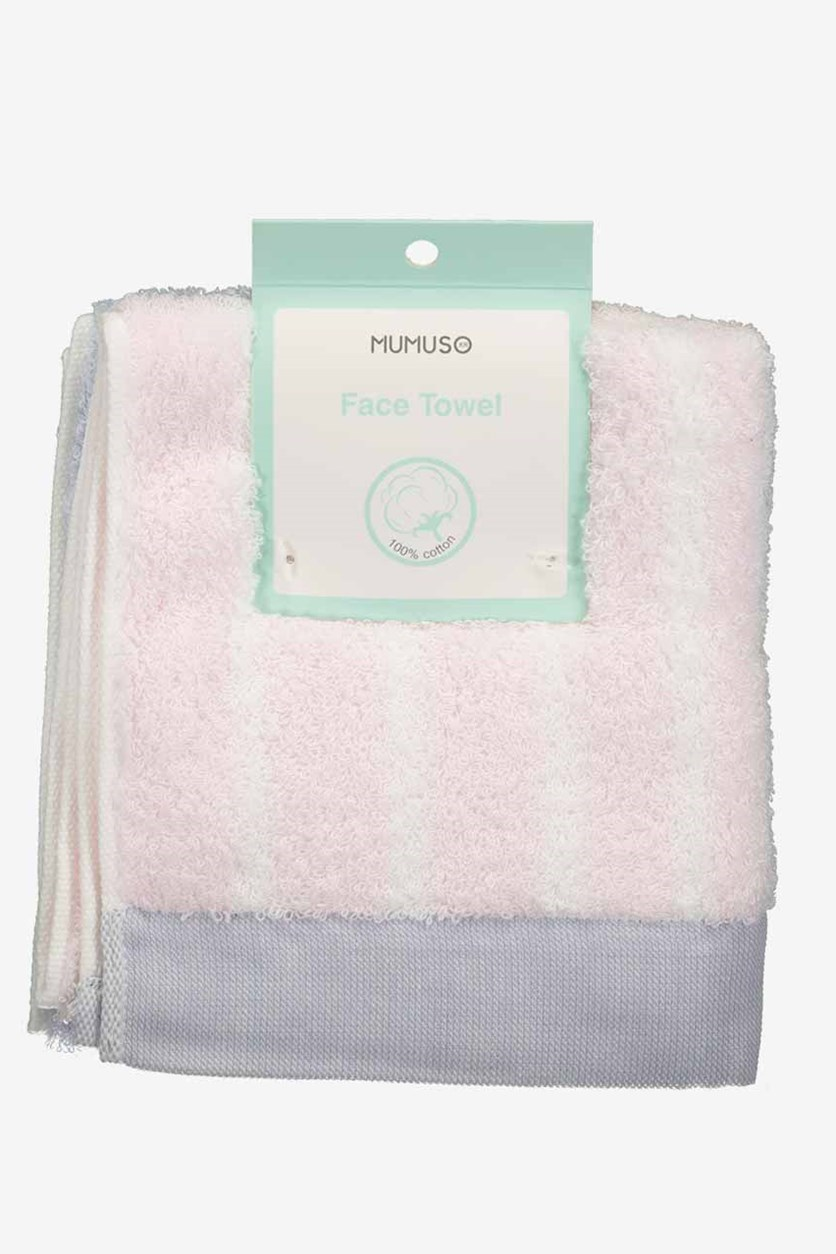Stripe Face Towel, Pink/White Combo