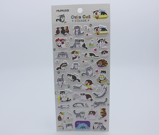 Cute Cat Sticker, White
