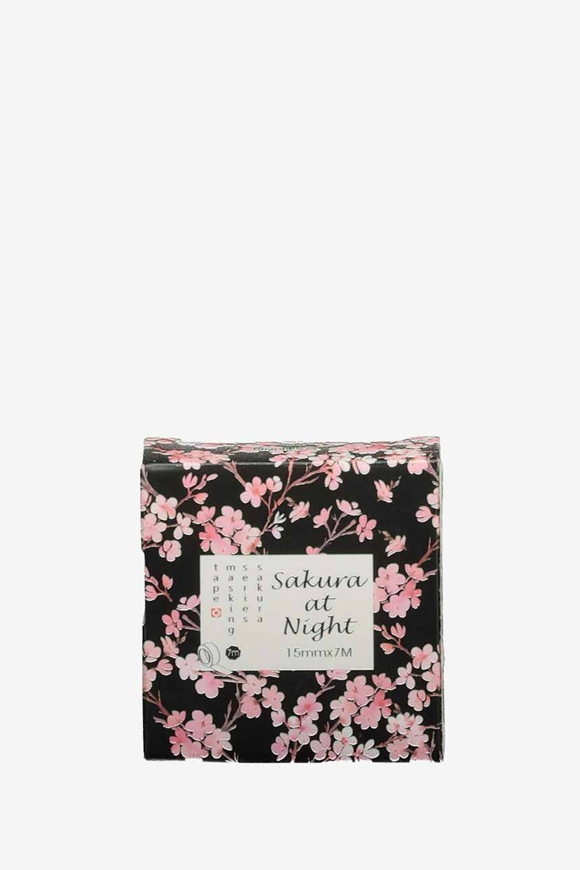 Sakura At Night Masking Tape, Pink/Black