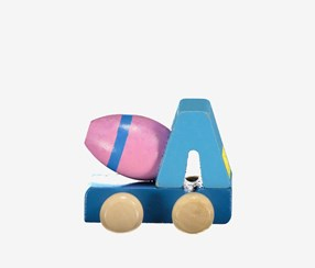Wooden Engineering Toy Car, Blue