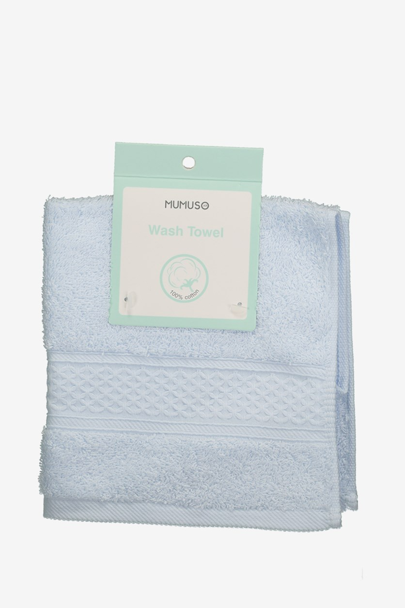 Plain Color Embossed Wash Towel, Blue