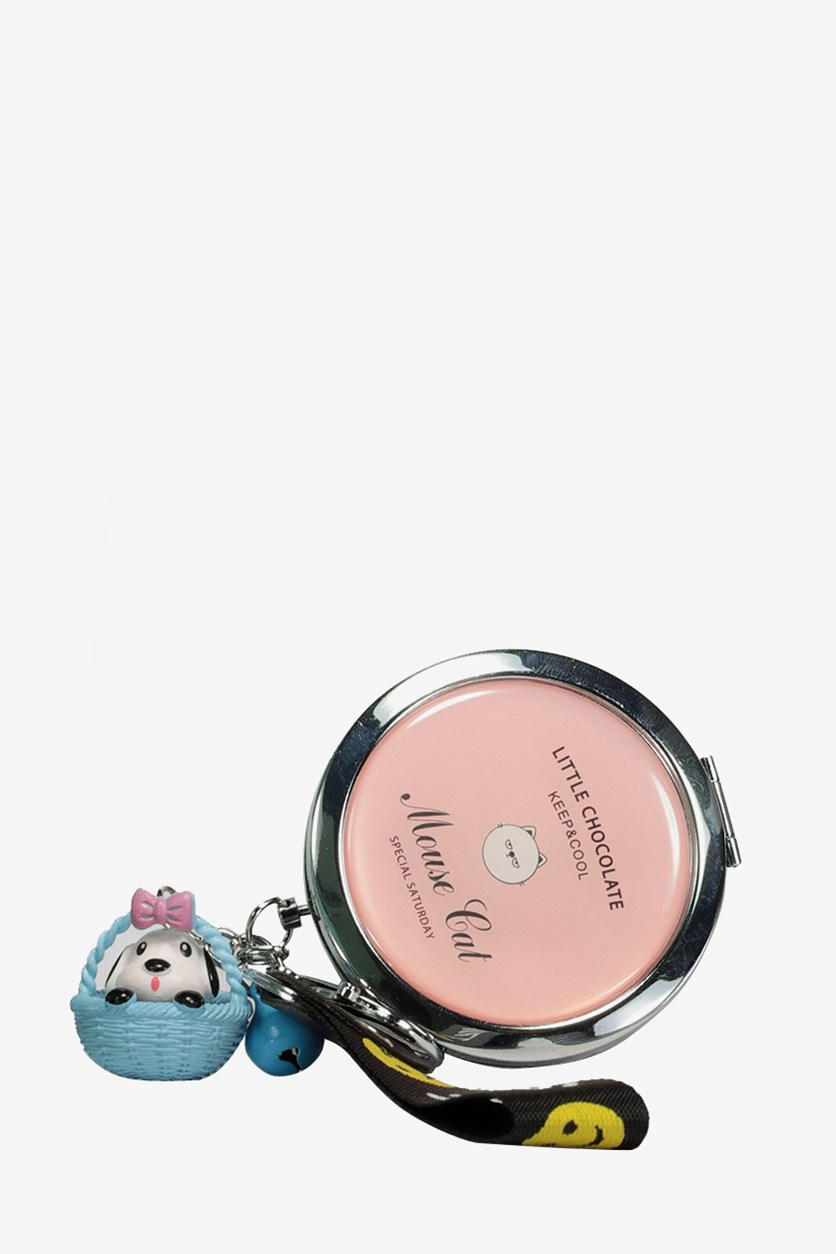 Mini Round Key Chain Folding Compact Mirror, Pink