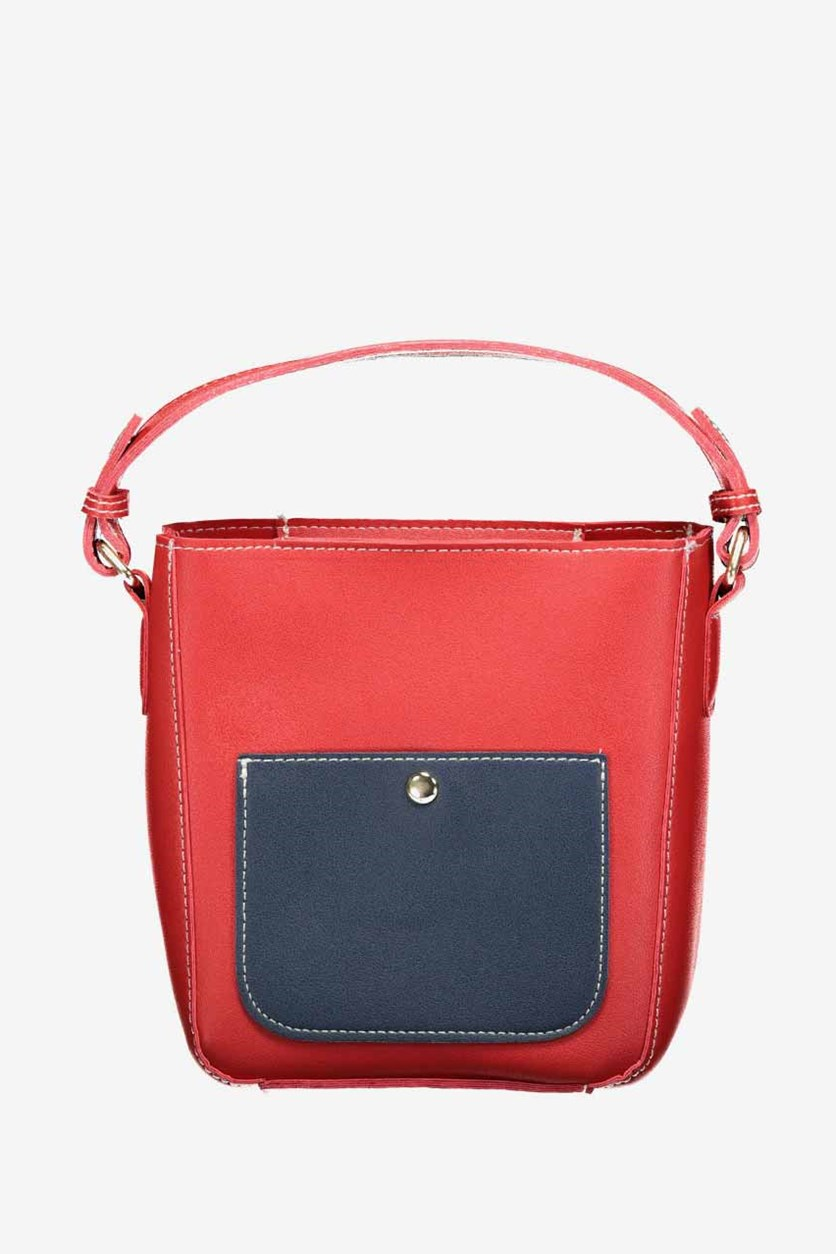 Contrast Color Tote Cross Body Bag, Red