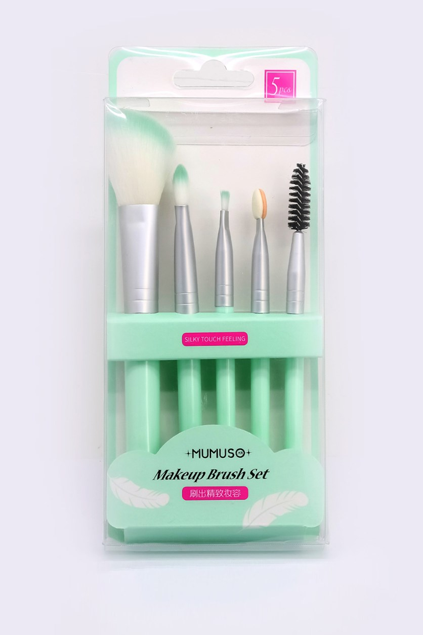 Makeup Brush Set of 5, Mint Green