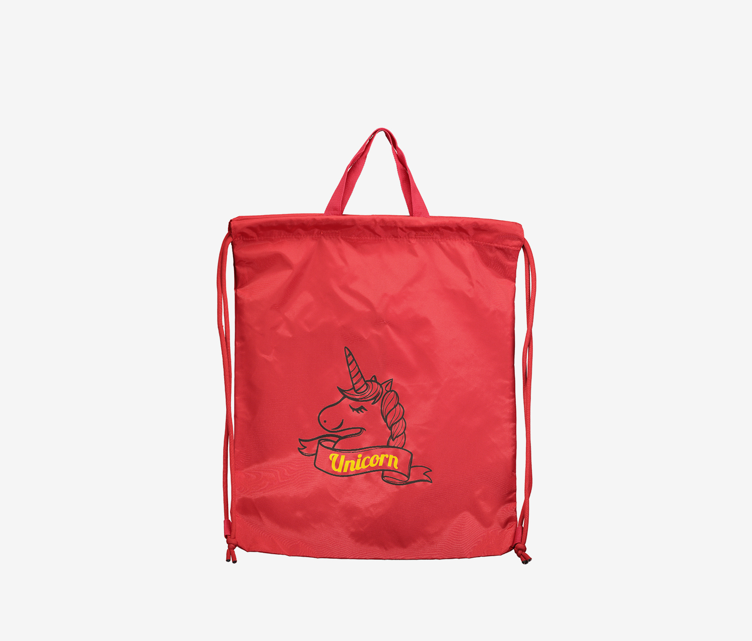 Unicorn Fatterned Drawstring Sports Bag, Red