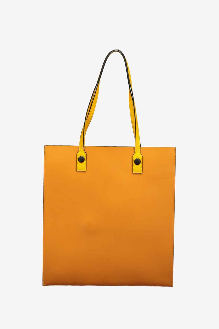 Solid Color Shoulder Bag, Yellow/Orange