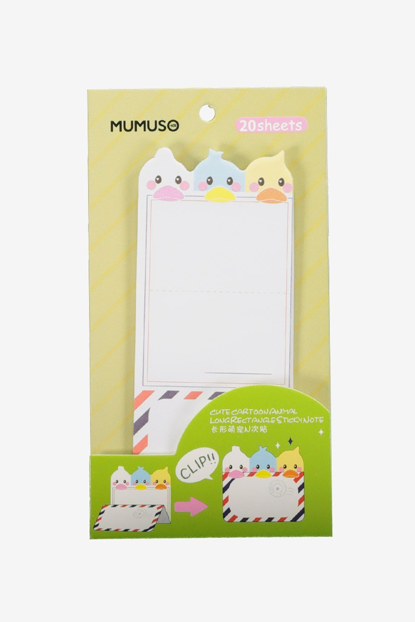 Cute Cartoon Animal Long Rectangle Sticky Note, White