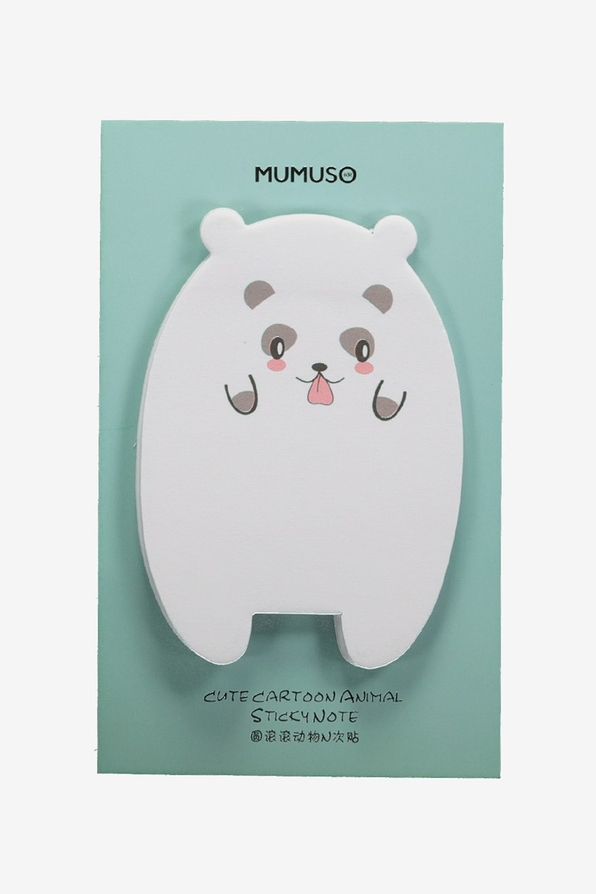 Cute Cartoon Animal Sticky Note, White/Turq