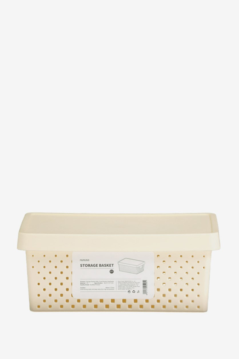 Storage Basket With Cover, Beige