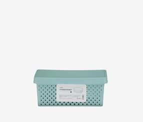 Storage Basket With Cover, Turquoise