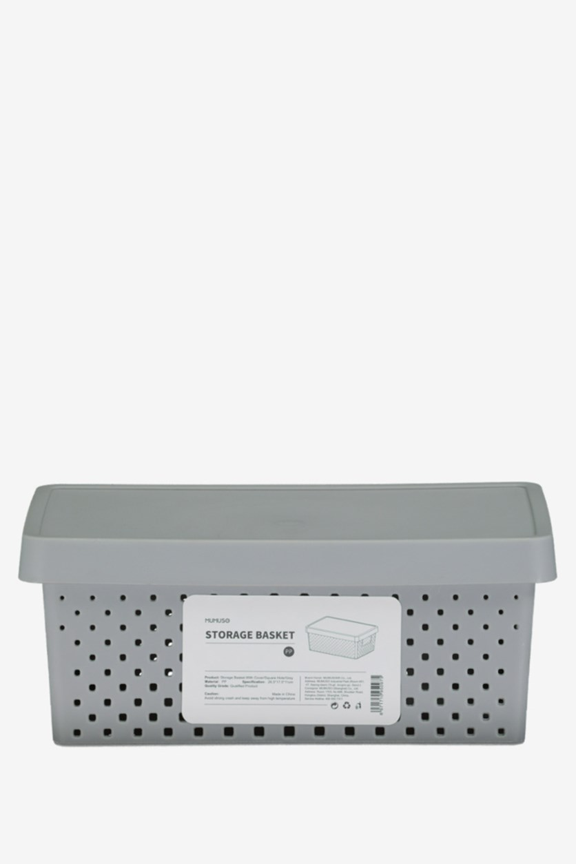 Storage Basket With Cover, Grey