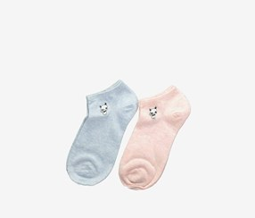 Women's 2-Pack Low-Cut Socks, Blue/Pink