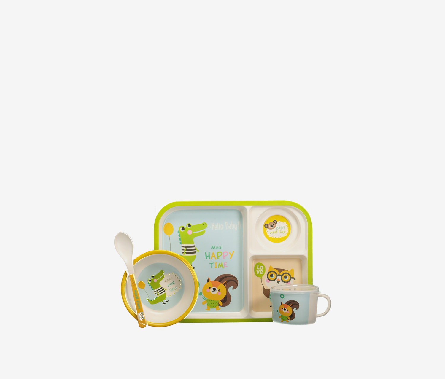 Kids' Crocodile Tableware Set, Combo