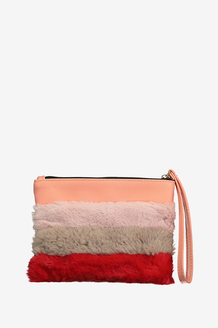 Faux Fur Hand Bag, Orange Combo