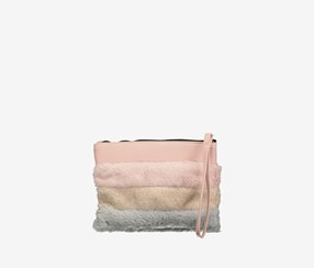Faux Fur Hand Bag, Pink Combo
