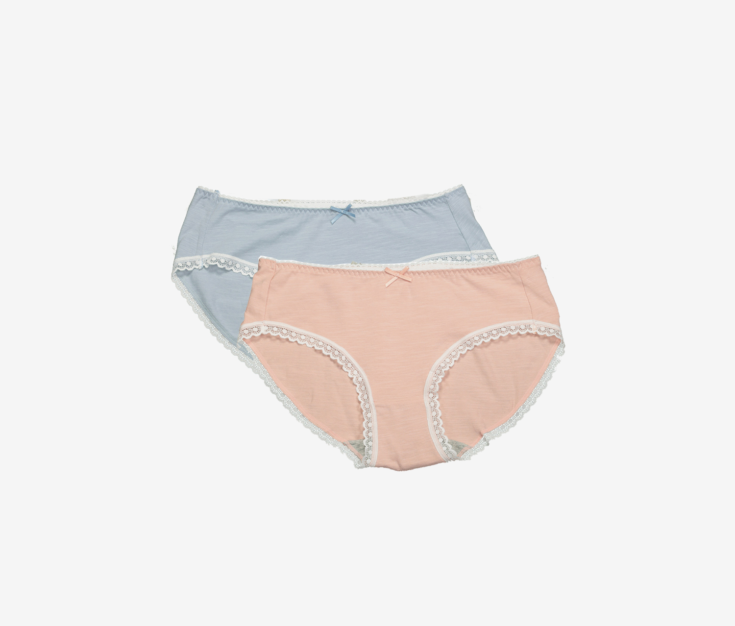 2 Pcs Women Underwear, Peach/Blue